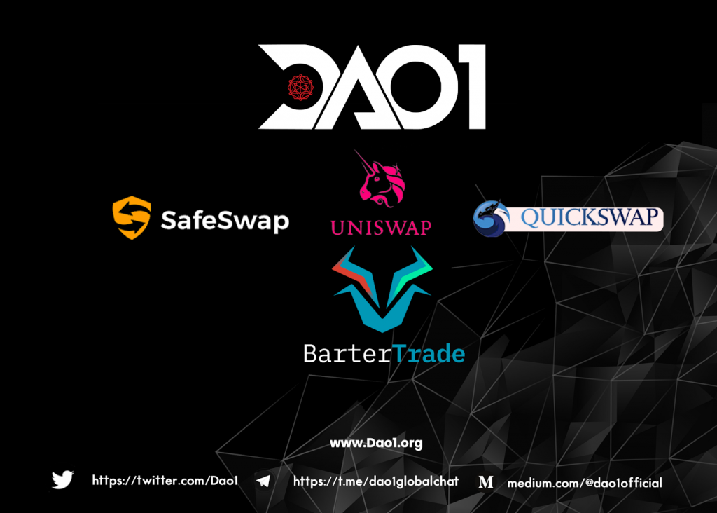 <p>DAO1 Token Now Available on Major Decentralized and Centralized Exchanges thumbnail